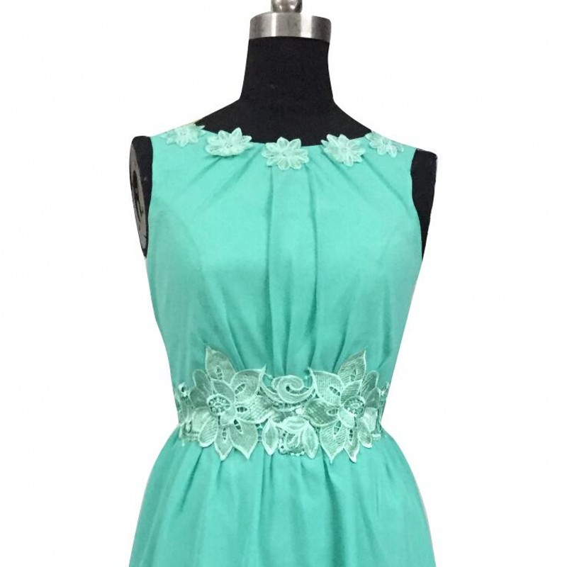 Mint Green High Low Boat Neck Backless Chiffon Bridesmaid Dress