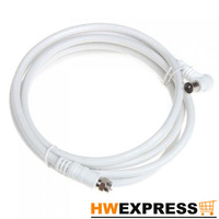 Wholesale 5 PCS White 2M 9.5mm 90 Degrees Male to F type Male Coaxial TV Satellite Antenna Cable