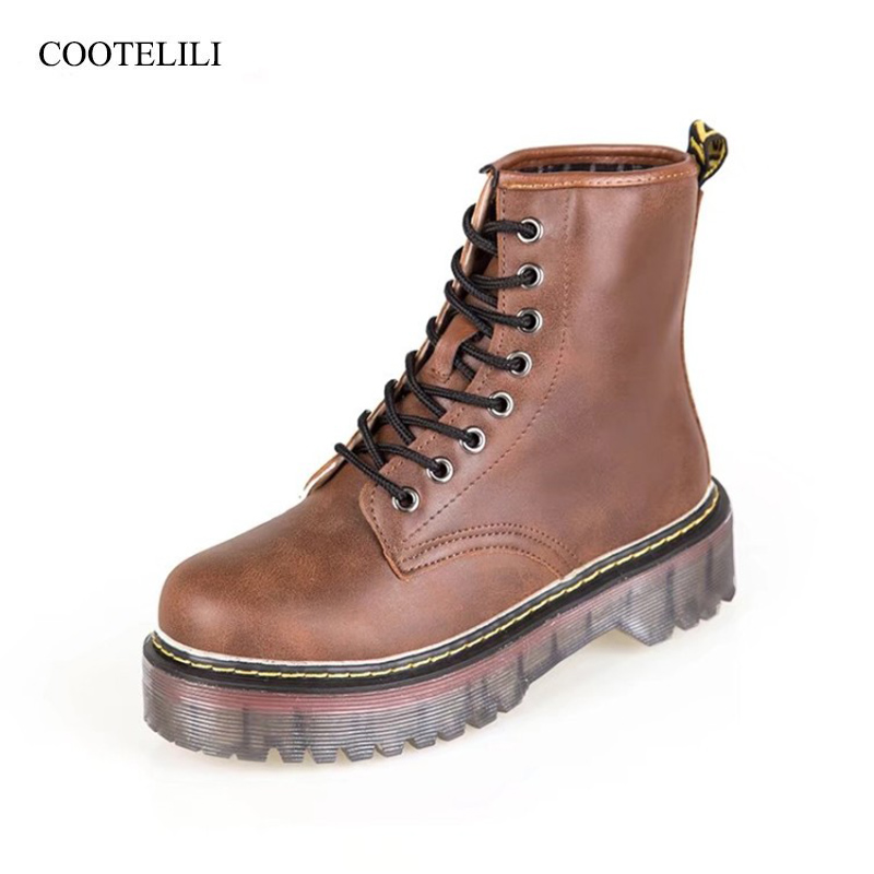 COOTELILI Shoes Boots Rubber Lace-Up Winter Fashion Women Ladies PU Ankle Platform 35-40