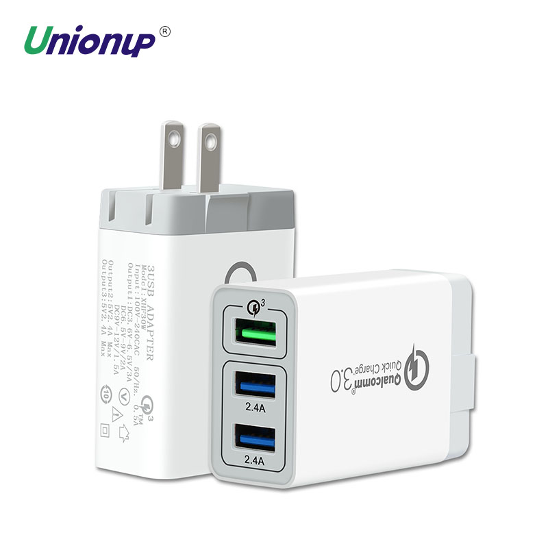 Unionup 3-port Quick Charge QC 3.0 Wall Charger 30W Travel USB Charger Adapter Fast Charge US <font><b>Plug</b></font> For <font><b>Smartphone</b></font> iPhone Samsung