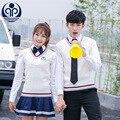 52d78f6641403 Junior High School uniforme estudiantes escuela ropa adolescente coro ropa  chicas Camisa + abrigo + falda
