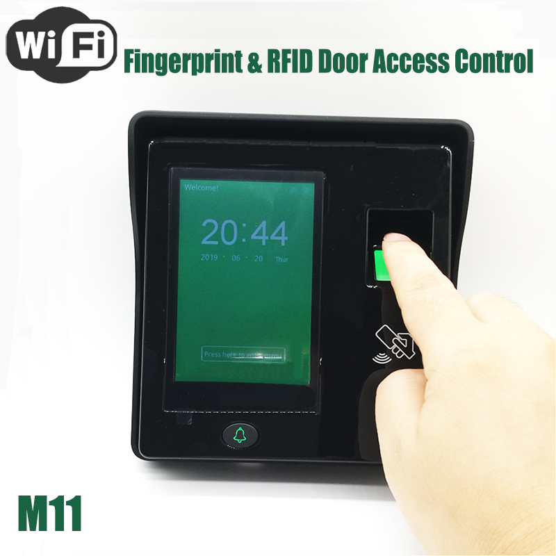 WIFI Fingerprint Access Control System Time Attendance Recorder M11 Finger And RFID Card Door Lock Controller(China)