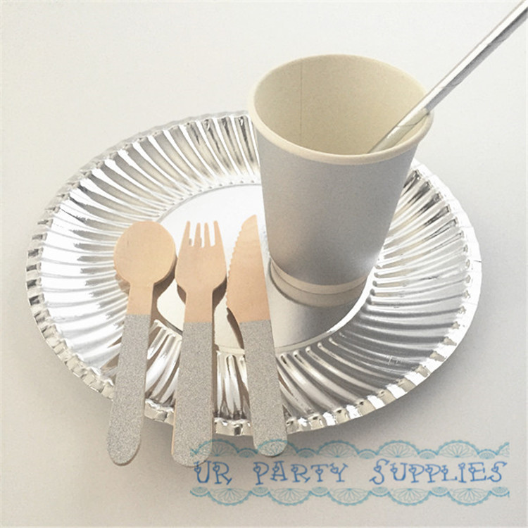 20 Sets Tableware Solid Silver Foil Paper Plates Drinking Straws Cups Wooden Forks Knives Spoons for Baby Shower Birthday Party-in Disposable Party ... & 20 Sets Tableware Solid Silver Foil Paper Plates Drinking Straws ...