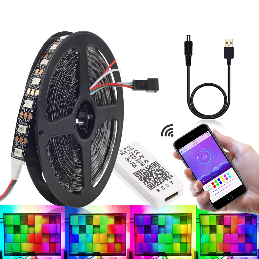 WS2812B LED Strip Individually Addressable RGB Smart Pixel Strip 1m/2m/3m Black PCB WS2812 IC 5V 30/60/leds Phone Control image