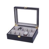 10 그리드 손수 나무 시계 상자 나무 시계 상자 시계 케이스 시간 상자 시계 들고
