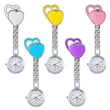 Pocket Medical Nurse Fob Watch Women Dress Watches Clip-on Pendant Hanging Quartz Clock Peach Heart Shape relogio de bolso clip on fob quartz brooch hanging nurse pin watch fashion luxury crystal men women unisex full steel pocket watch relogio clock