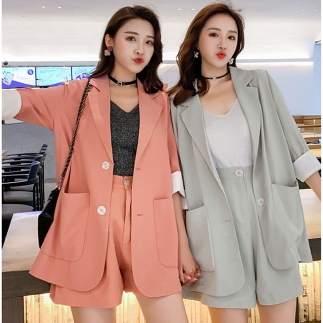 a41e285050a51 2019 Solid 2 Piece Set Women Summer Elegant Office Lady Casual Suits Two  Piece Sets Top And Pants suit