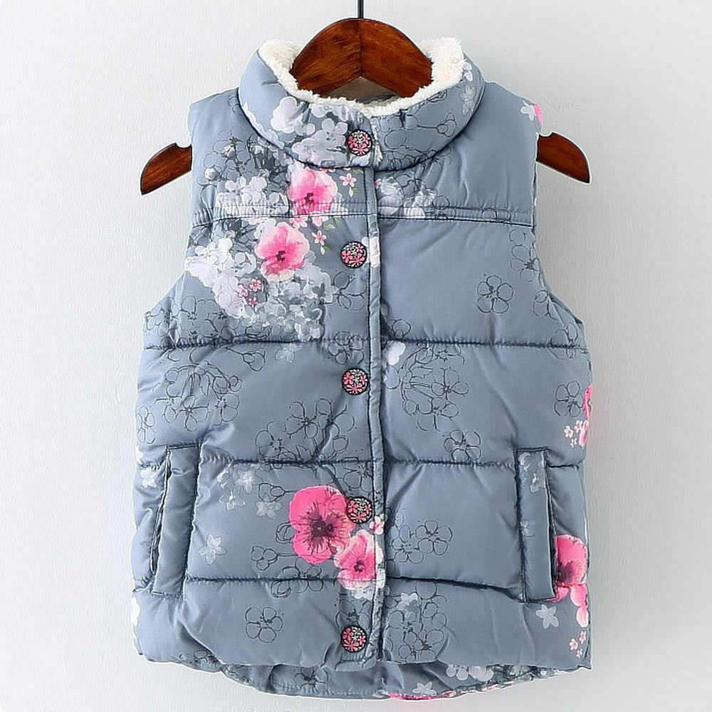 Fashion baby waistcoat girl Kid Infant Floral Jackets Baby Toddler floral Cotton Warm Waistcoat Clothes Coat Kids Vest Outerwear