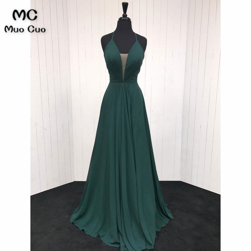 In Stock Long 2018 Teal Wedding Party   Dress   Deep V-Neck Spaghetti Straps Chiffon Pleat Prom   Bridesmaid     Dresses   for women