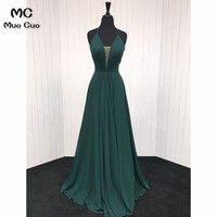 In Stock Long 2018 Teal Wedding Party Dress Deep V Neck Spaghetti Straps Chiffon Pleat Prom Bridesmaid Dresses for women