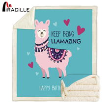 Miracille Alpaca For Kid Cartoon Blanket Comfortable Quilt Bed Adorable Lovely Throw Blankets Bedding Thick Warm
