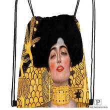 Custom Gustav_Klimt @4 Drawstring Backpack Bag Cute Daypack Kids Satchel (Black Back) 31x40cm#20180611-02-98