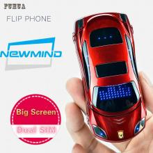 Original Newmind F15 Unlocked Flip Phone Dual Sim Mini Sports Car Model Blue Lantern Bluetooth Mobile Cell Phone 2sim Celular