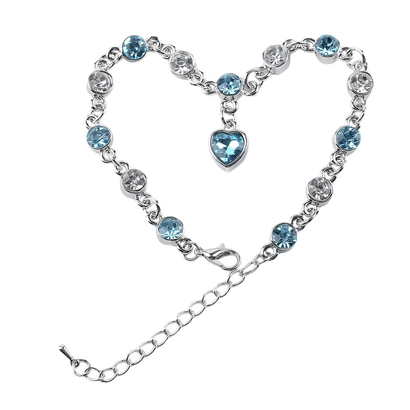Luxury Women Lobster Vintage Heart Jewelry Crystal Bracelets Loves Gift Silver Plated Chain Bangles Rolo Chain for Gril Female