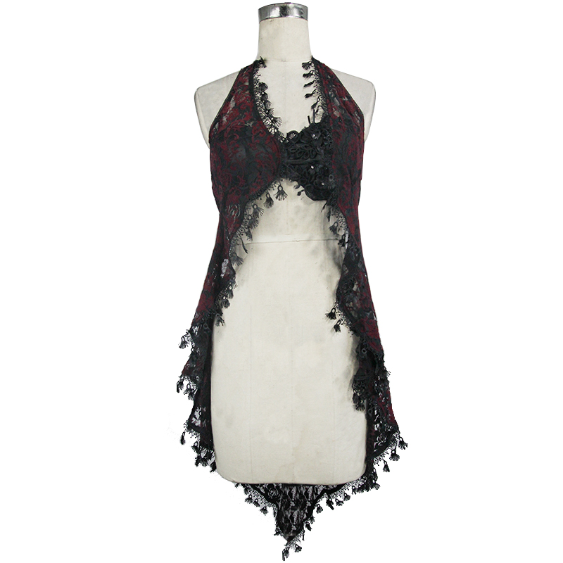 Eva Lady haut sexy pour les femmes gothique voir à travers licou T-shirt noir rouge dentelle gland été nouveaux accessoires tendance - 4
