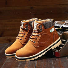 2016 Hot Sale  Fashion  Men Solid Warm Winter Boots Keep warm Male Casual PU Thick Plush Mens Snow Martin Boots Lace up Shoes