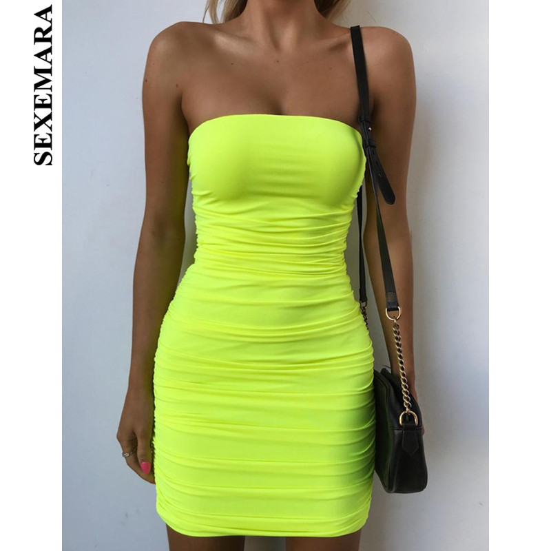 BOOFEENAA Neon Yellow Ruched Strapless Midi