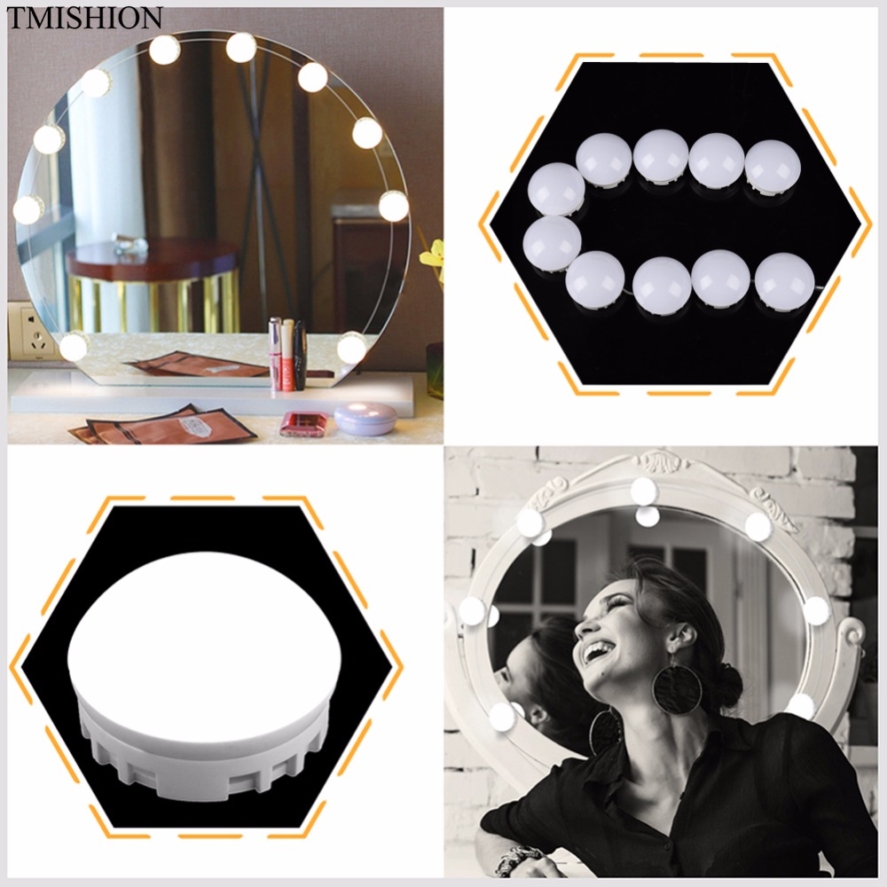 10/12pcs Modern Makeup LED Bulbs Mirror Light Mirror Vanity LED Light Kits For Dressing Table Lens With Dimmer Switch DIY Lamps wooden dressing table makeup desk with stool oval rotation mirror 5 drawers white bedroom furniture dropshipping