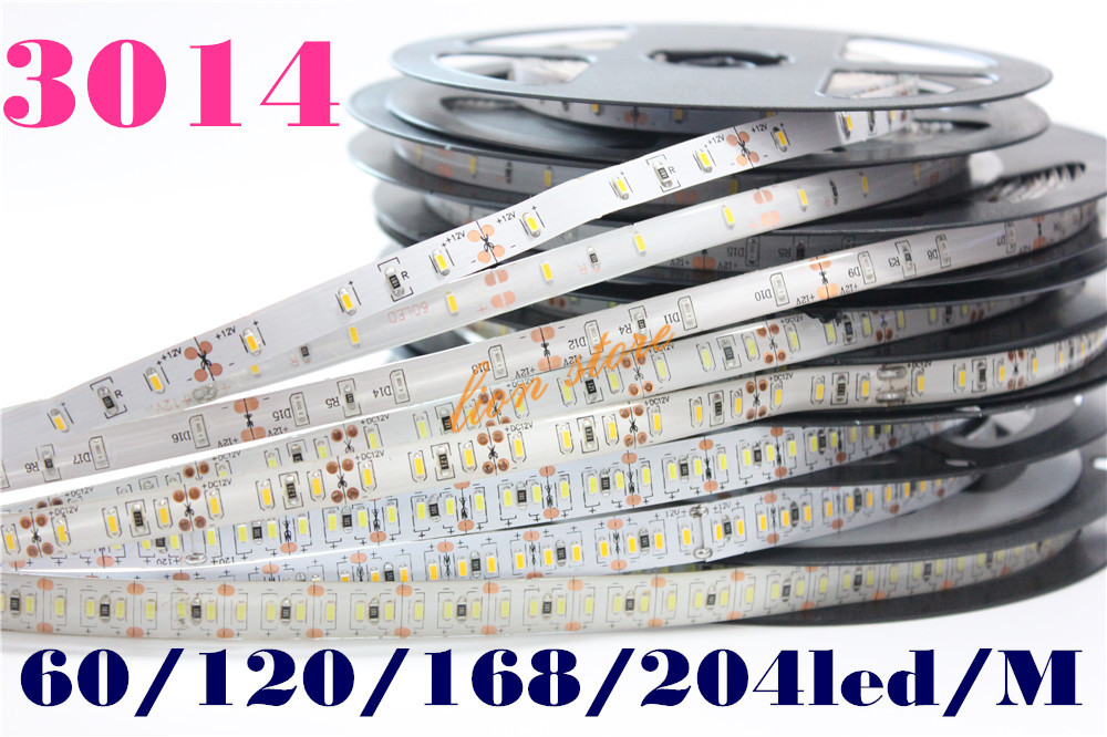 New SMD 3014 LED Strip, Super Bright 60/120/168/204led/m waterproof and no waterproof led tape light DC 12V white color,5m/lot