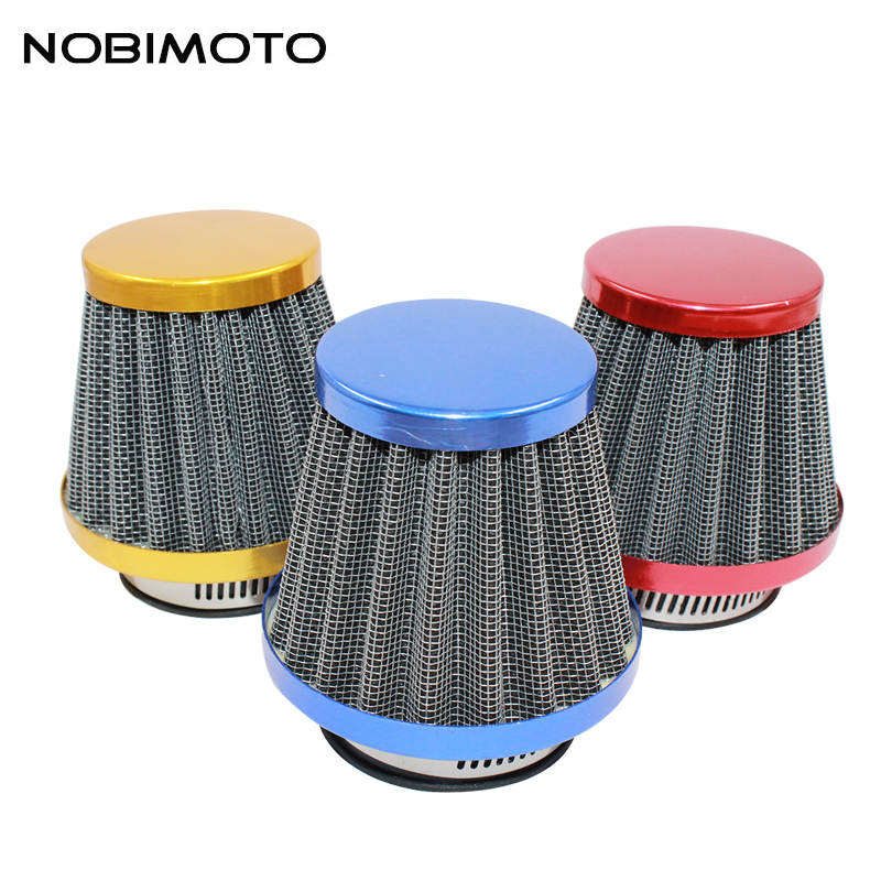 NOBIMOTO 35/38/42/45/48/52/58mm Motorcycle Mushroom Head Air Filter Clamp On Air Filter Cleaner 3Colors KL012 universal motorcycle air intake filter cleaner 35 44 50mm 2 layer steel net filter gauze motorcycle clamp on air filter cleaner