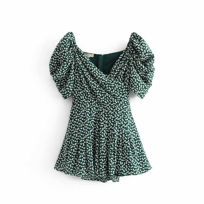 Summer dress 2019 boho korean off shoulder  beach dress elegant kawaii green vintage floral sexy v neck mini dress vestidos