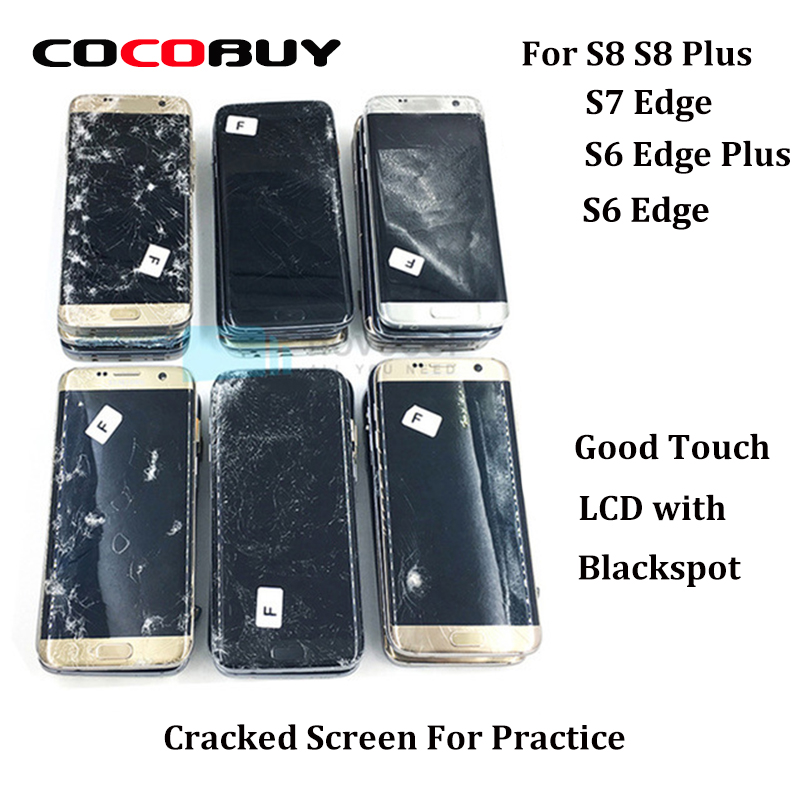 5 Pcs Broken Edge Screens For Practice- Touch Works Fine And Image With Defects For Samsung S8 S8 Plus S6 Edge S7 Edge S6 Edge+