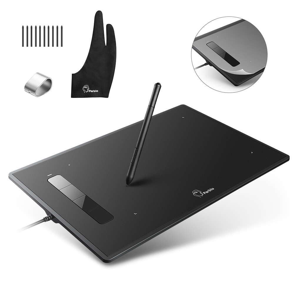 Professional Parblo Island A609 Graphic Tablet with Battery free Pen Two Finger Glove Replacement Nibs Kit
