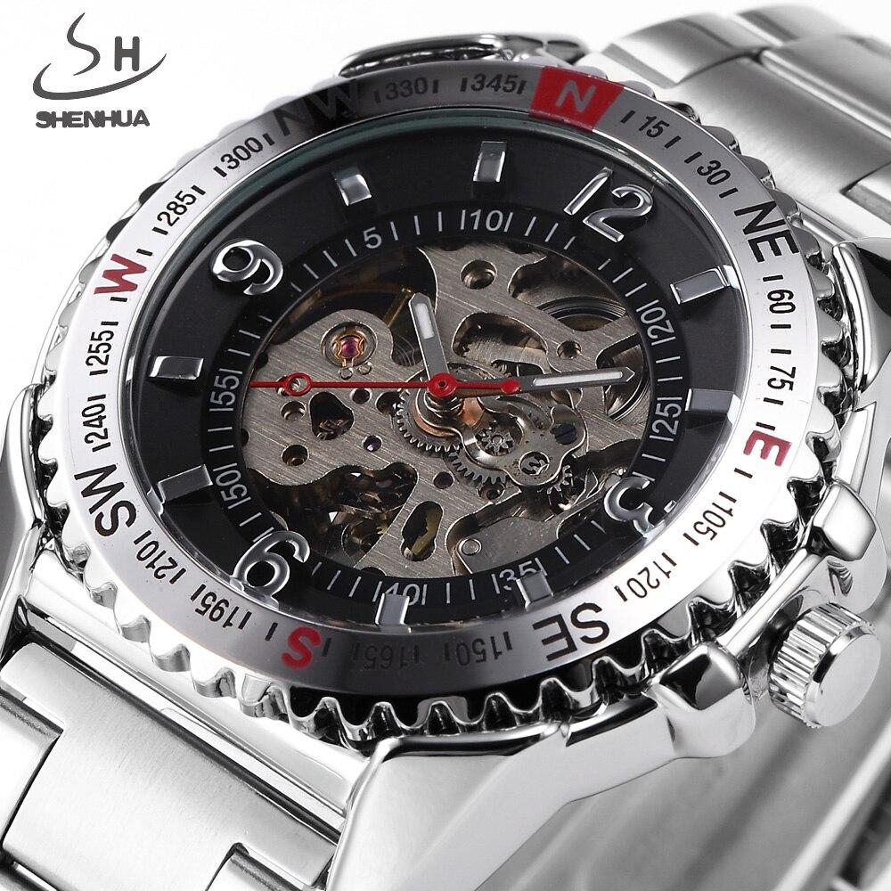 SHENHUA Brand Men Skeleton Mechanical Watch Sport Watches Fashion Business Military Automatic Watch Full Steel Relogio Masculino