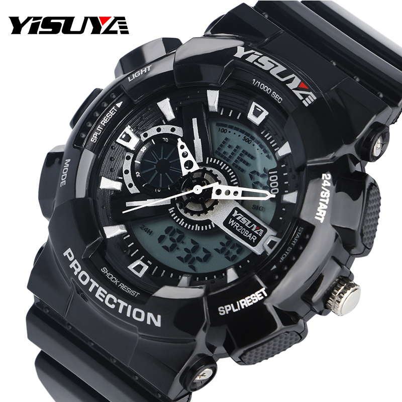 watch dial shark steel strap black product relogio zone dual sport quartz shopping basking digital watches lcd time stainless don men alarm