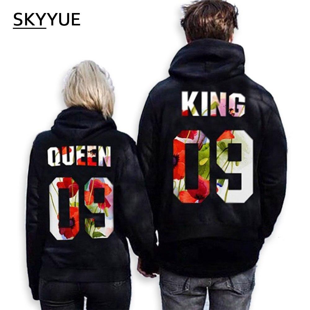 Skyyue Размеры: s-5xlthe King и его Queen Для мужчин Для женщин Повседневное Lover пары хлопковые кофты Толстовки пары свободные с капюшоном