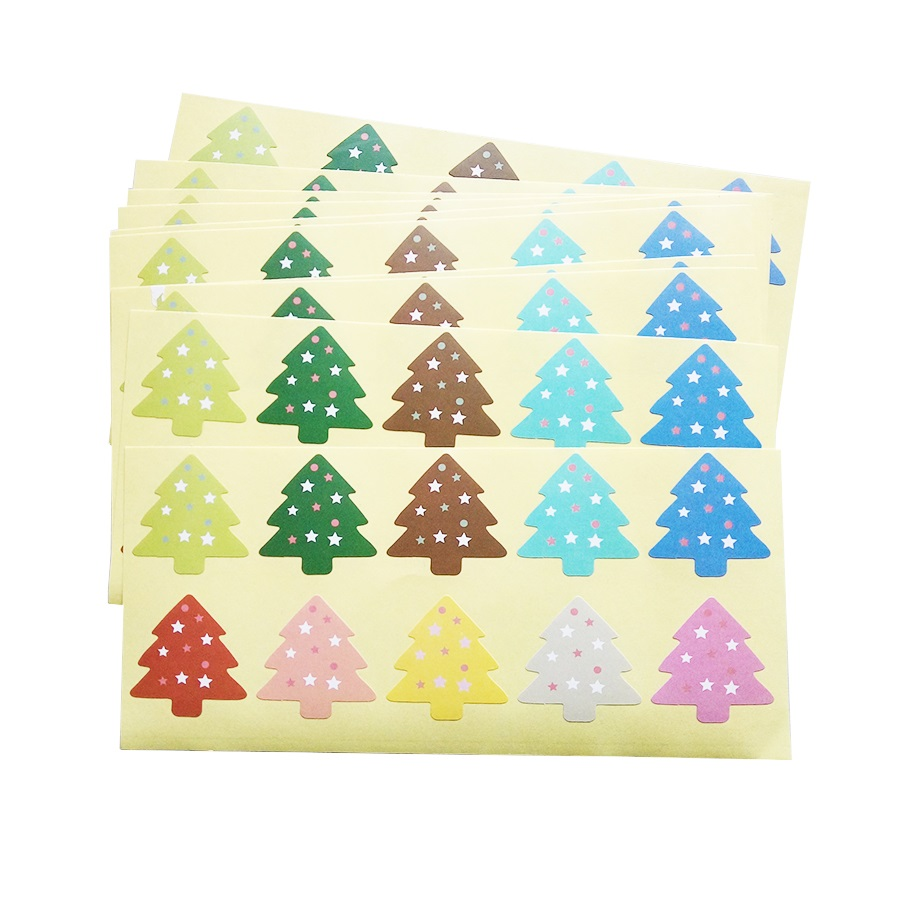 500pcs/lot Wholesale Colourful Christmas Tree Design Sealing Label Stickers DIY Baking Decoration Label Party Shops Supply