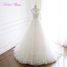 LCELAND POPPY Women's A-line Wedding Dresses Crystal V-neck