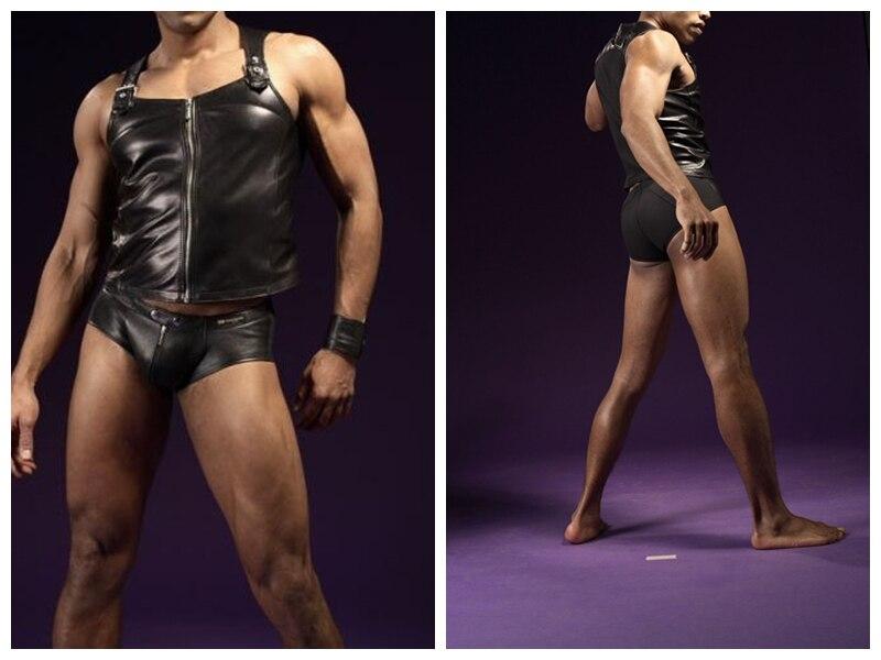 Sporting 2017men's Strakke Sexy Mannen Vest Heren Ondergoed Slips Heren Gay Ondergoed Nieuwe Lederen Vest En Ondergoed Set Van Mens Slips