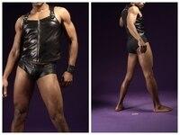 2017Men's Tight Sexy Men Vest Mens Underwear Briefs Men's Gay Underwear New leather vest And underwear Set Of Mens Briefs