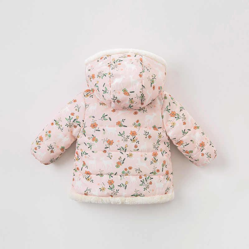 DBA7978 Dave Bella для маленьких девочек Хлопчатобумажная Куртка Верхняя одежда для ребенка модное розовое пальто