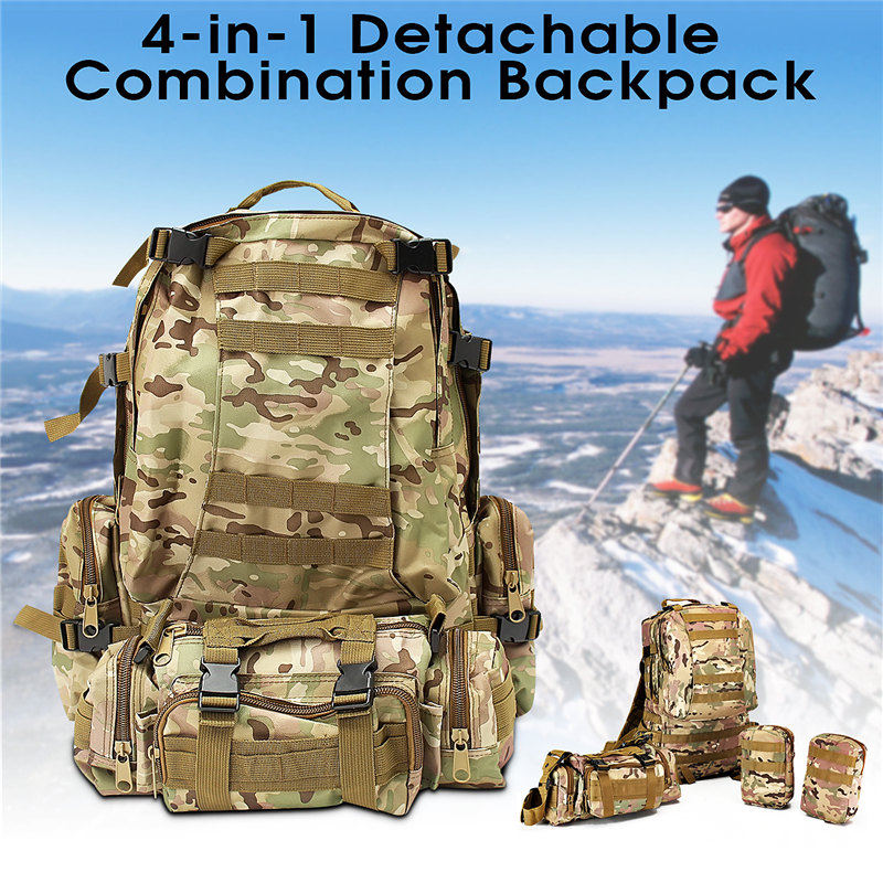 Top Camping Bag Multifunction Sport Bag Molle Tactical Bag 60L Durable Camouflage Backpack for Outdoor Climbing Hiking Camping