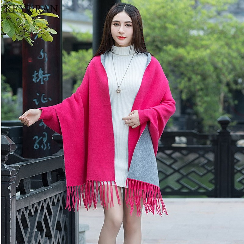 Flower And Cloak Tassel Female Winter Embroidery New Knitting Coat Peony Sweaters Loose Cardigan Cashmere Black fuchsia For Autumn red Shawl Women 5IwqXxzq