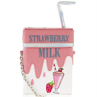 2016 New Design Women Chain Strawberry Lemon Milk Carton Boxes Package Shoulder Bag Girls Pink Cute