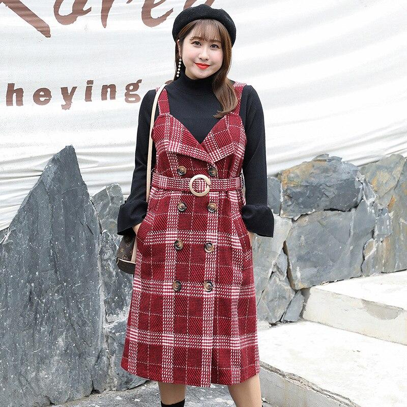 bd4fa4a58bc64c Stück Kleid Lange Hosenträger Tops Plaid Gestrickte Red Zwei 2018 Woolen  Frauen Größe Frühjahr Plus Hülse Und 1562 Vintage Mode 4qj35ALR
