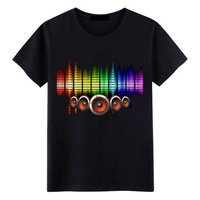 Vendita calda Suono Attivato Ha Condotto La Maglietta del Cotone Light Up And Down infiammante del Compensatore di El T-Shirt Da Uomo Per Rock Disco Party Dj Top Tee