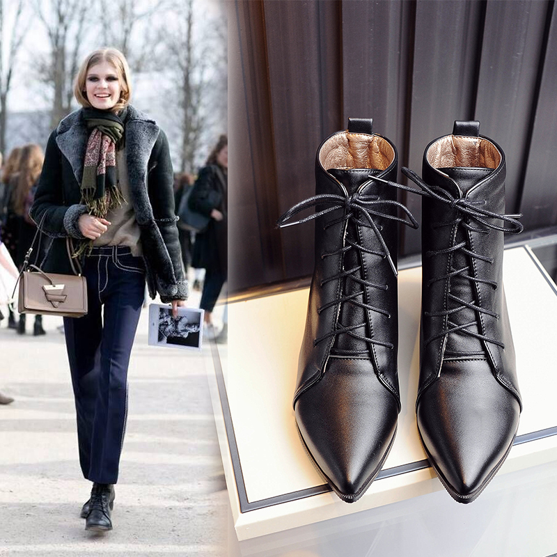 Large Size 34-48 Brand Designers 2019 New Spring Autumn Women Shoes Black Heels Boots Lacing Platform Ankle Boots Chunky Heels image