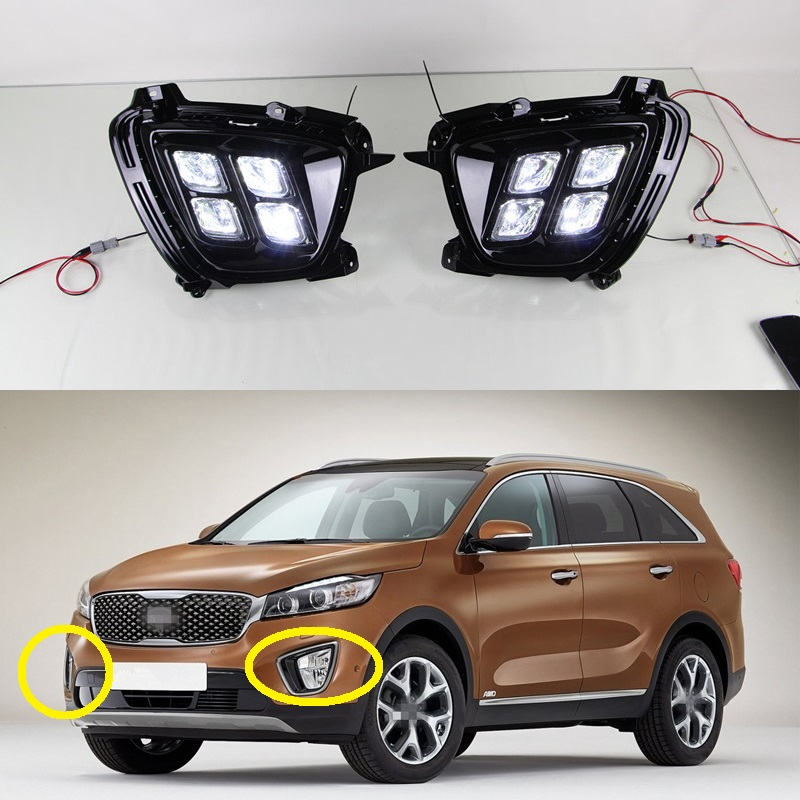 купить  2Pcs Car Daytime Running Lights LED DRL Daylight 12V DC Driving Fog Lamp car styling For Kia Sorento 2015  недорого