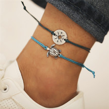 Boho Silver Compass Hollow Turtle Pendant Anklet Multi Color Rope Women Fashion Jewelry