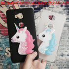 3D Unicorn Quicksand Liquid Soft Silicone Case for Huawei Honor 5X / Glory Play 5X / GR5 Phone Cover Cartoon Diamond Funda Coque