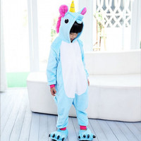 Children Kids Unisex Animal Stitch Unicorn Pikachu Onesie Halloween Christmas Cosplay Costumes Pajamas Sleepwear For Boys