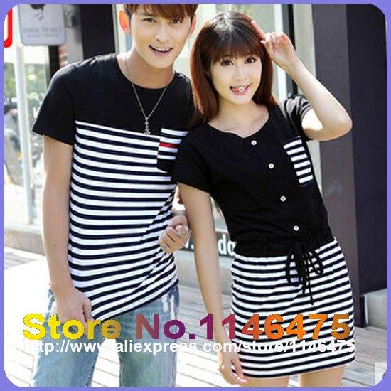 bde5a4f3f75d New Hot Sale Men Women Fashion Slim Fit Cute Korean Couple T-Shirt Summer  Casual Black White Stripe Matching Couple Shirts 307