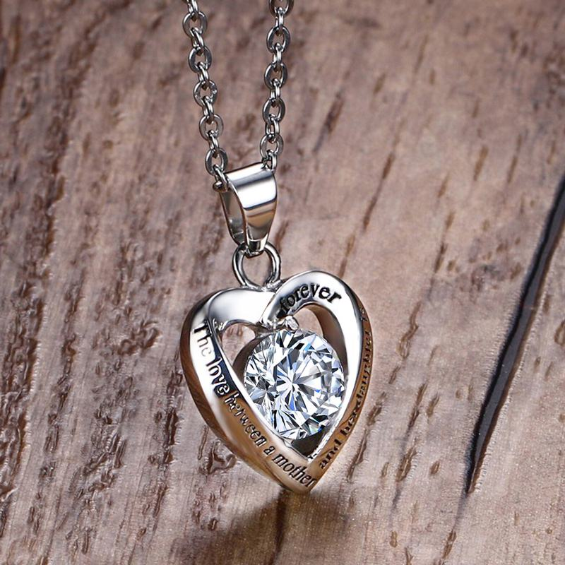 Mamá regalo collar el amor entre una madre y su hija es para siempre Stainless acero colgante Kolye corazón CZ Mujer joyería
