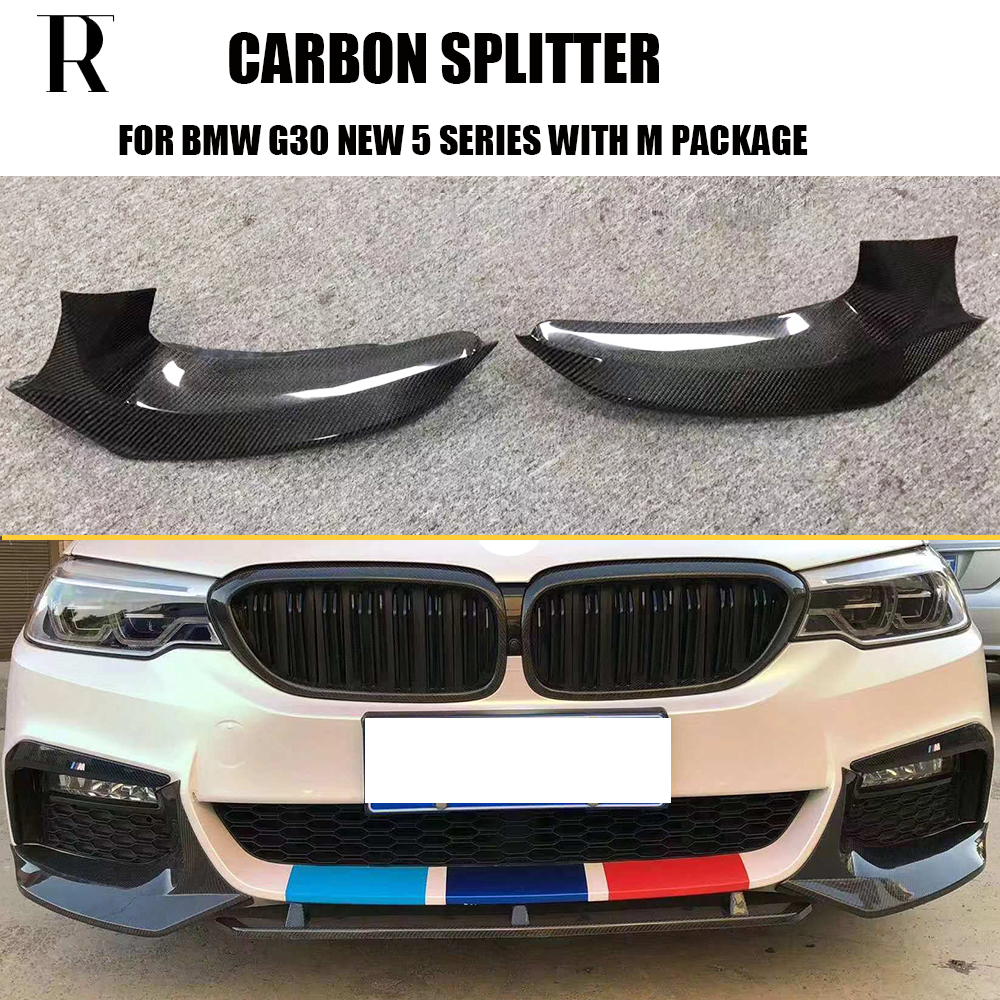 m5 styling carbon fiber front bumper side splitter apron for bmw g30 new 5 series 530i [ 1000 x 1000 Pixel ]