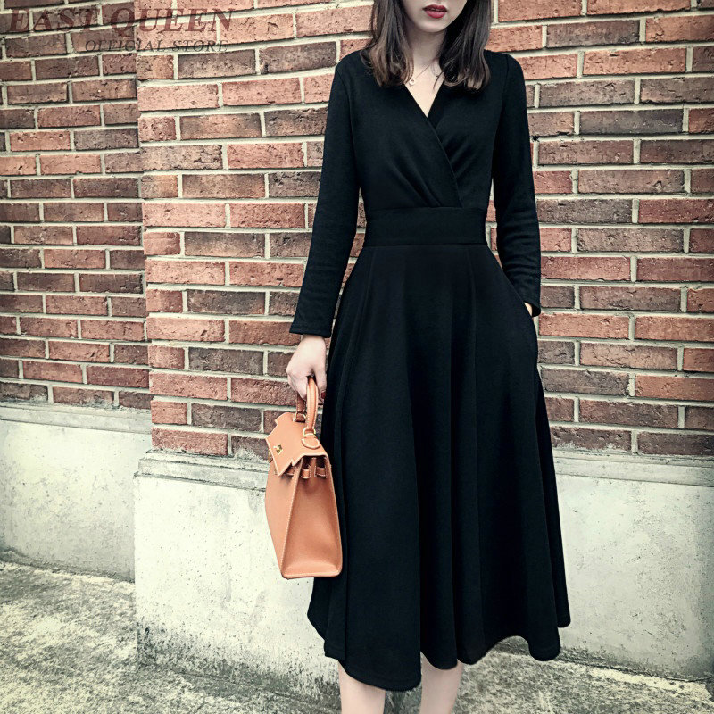 Fashion solid dress women long sleeve autumn sweater dresses sexy tunic bodycon v-neck elegant female cotton dress DD356 F alfani women s long sleeve marilyn cowl neck tunic sweater emerald 2x