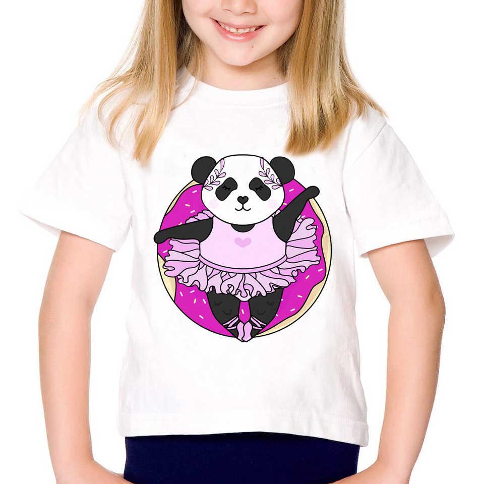 Детская модная футболка с изображением забавной панды и пончика детская одежда